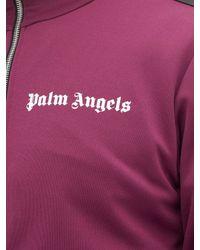 8 MONCLER PALM ANGELS Purple Logo Appliqué Track Top for men