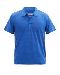 Vilebrequin Blue Pyramid Open-collar Linen-jersey Polo Shirt for men