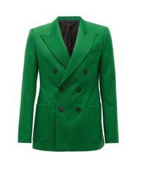 メンズ Givenchy ピークドラペル クレープダブルジャケット Green