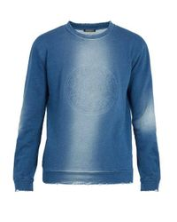 Balmain Blue Logo-embossed Cotton Sweatshirt for men