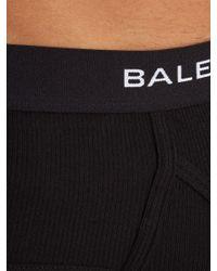 Balenciaga Black Set Of Three Ribbed-cotton Briefs for men