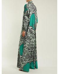 Valentino - Green Tiger-print Wide-leg Jumpsuit - Lyst