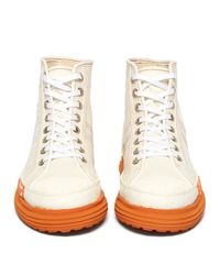 Martine Rose White Basketball High Top Canvas And Rubber Trainers