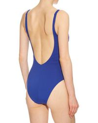 La Perla - Blue Cool Draping Ruched-tulle Padded Swimsuit - Lyst