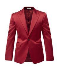 メンズ Alexander McQueen コットンブレンドサテン シングルスーツジャケット Red