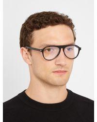Saint Laurent Black Aviator Acetate Glasses for men