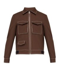 Maison Margiela Brown Topstitched Twill Jacket for men