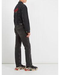 Balenciaga Gray Sinners-embroidered Denim Jacket for men