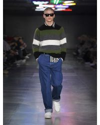 AMI - Green Striped Alpaca-blend Sweater for Men - Lyst