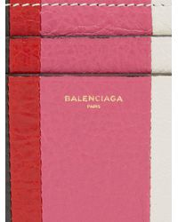 Balenciaga Pink Bazar Stripe Leather Cardholder