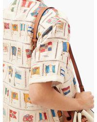 Bode タバコ フラッグ シルクブレンドシャツ Multicolor