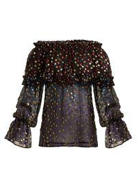 Blouse épaules dénudées en soie mélangée Saint Laurent en coloris Black