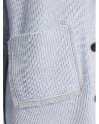 Proenza Schouler Blue V-neck Ribbed-knit Cotton-blend Cardigan