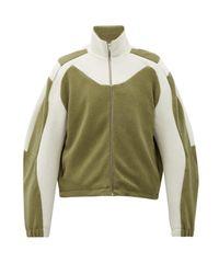 メンズ GmbH バイカラー コットンフリースジャケット Green