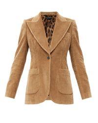 Dolce & Gabbana コットンコーデュロイ シングルジャケット Natural