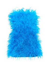 The Attico ストラップレス オーストリッチフェザー ミニドレス Blue