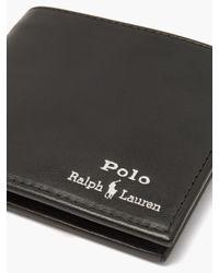 メンズ Polo Ralph Lauren サフォーク Rlpc 67 レザーバイフォールドウォレット Black