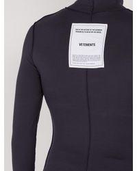 Vetements Blue Reverse Effect Panelled Roll Neck Sweatshirt for men