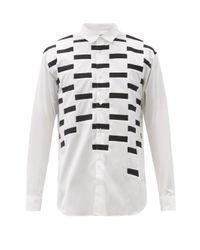 メンズ Comme des Garçons Comme Des Garçons Shirt ジオメトリックパッチワーク コットンポプリンシャツ White