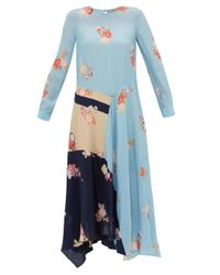 Preen Line Selena コントラストパネル クレープドレス Blue