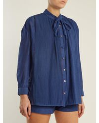 Thierry Colson Blue Jours De Venise Tie-neck Blouse