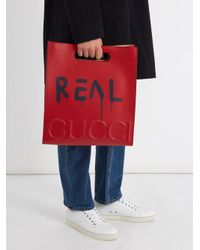 Gucci - Red Ghost Large Leather Tote Bag - Lyst
