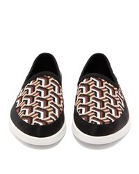 Prada Black St Tropez Jacquard-knitted Loafers for men
