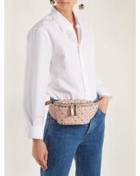 Valentino Pink Rockstud Spike Quilted Leather Belt Bag