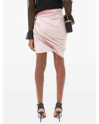 Alexandre Vauthier アシンメトリー ベルベットミニスカート Pink