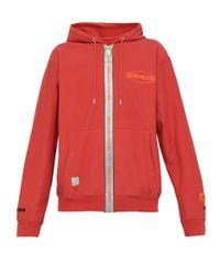 Sweat-shirt zippé à capuche et imprimé logo Heron Preston pour homme en coloris Red