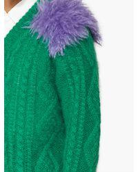 Pull en maille torsadée à empiècement contrastant Prada pour homme en coloris Green