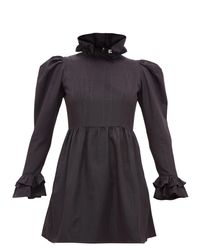 BATSHEVA Black High-neck Ruffled Puff-sleeved Mini Dress