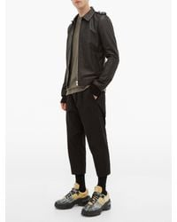 Rick Owens Black Cropped Stretch-cotton Twill Trousers for men