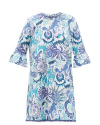Le Sirenuse Blue Cappa Psycho-print Cotton Shift Dress