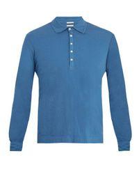Massimo Alba Blue Long-sleeved Cotton-jersey Polo Shirt for men
