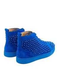 Baskets montantes en daim à picots Louis Christian Louboutin pour homme en coloris Blue