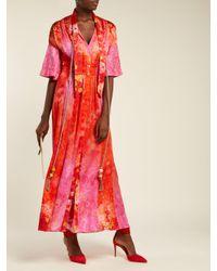 Robe en soie stretch à imprimé floral et houppes Peter Pilotto en coloris Red