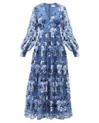 Erdem タベサ フローラル シルクオーガンザドレス Blue