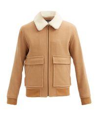 A.P.C. Natural Bronze Wool-blend Twill Aviator Jacket for men
