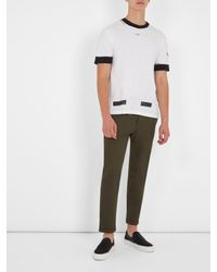 Off-White c/o Virgil Abloh White Contrast-trim Cotton T-shirt for men