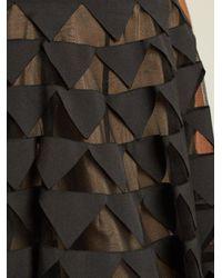 Oscar de la Renta - Black Triangle Appliqué V-neck Silk-faille Gown - Lyst