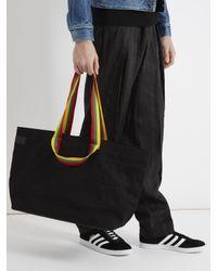 Acne Black Claas Face-appliqué Striped Cotton Tote for men
