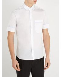 Valentino White Short-sleeved Contrast-piping Cotton Shirt for men