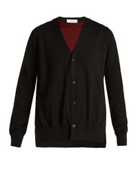 Toga - Black Layered V-neck Wool Cardigan - Lyst