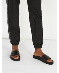 Buscemi Black Piuma Leather Slides for men