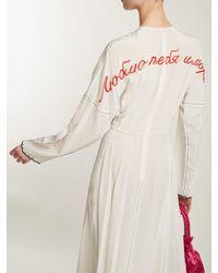 Natasha Zinko White Beaded Slogan-back Silk Long-sleeve Dress