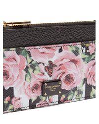 Dolce & Gabbana Black Rose And Stripe-print Zip Leather Cardholder