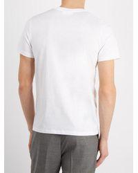 AMI White Logo-embroidered Cotton T-shirt for men