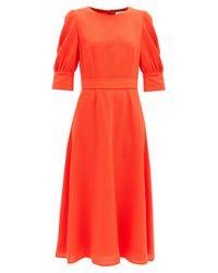 Goat ケーン ビショップスリーブ ウールクレープドレス Red