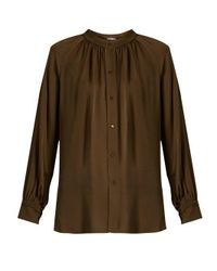 Vince - Multicolor Oversized Gathered Silk Blouse - Lyst